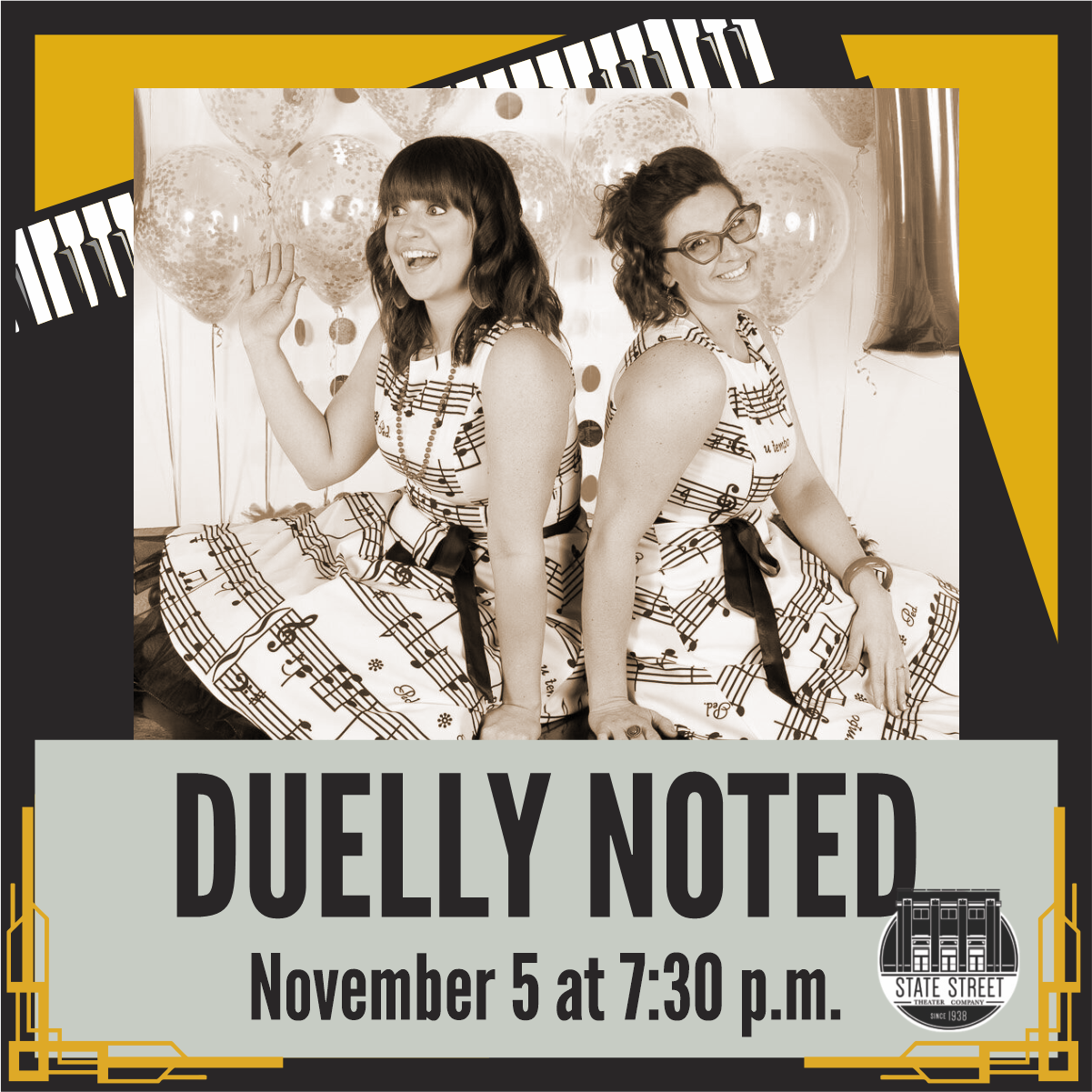 Duelly Noted Dueling Pianos, Friday, November 5 at 7:30 pm at State Street Theater