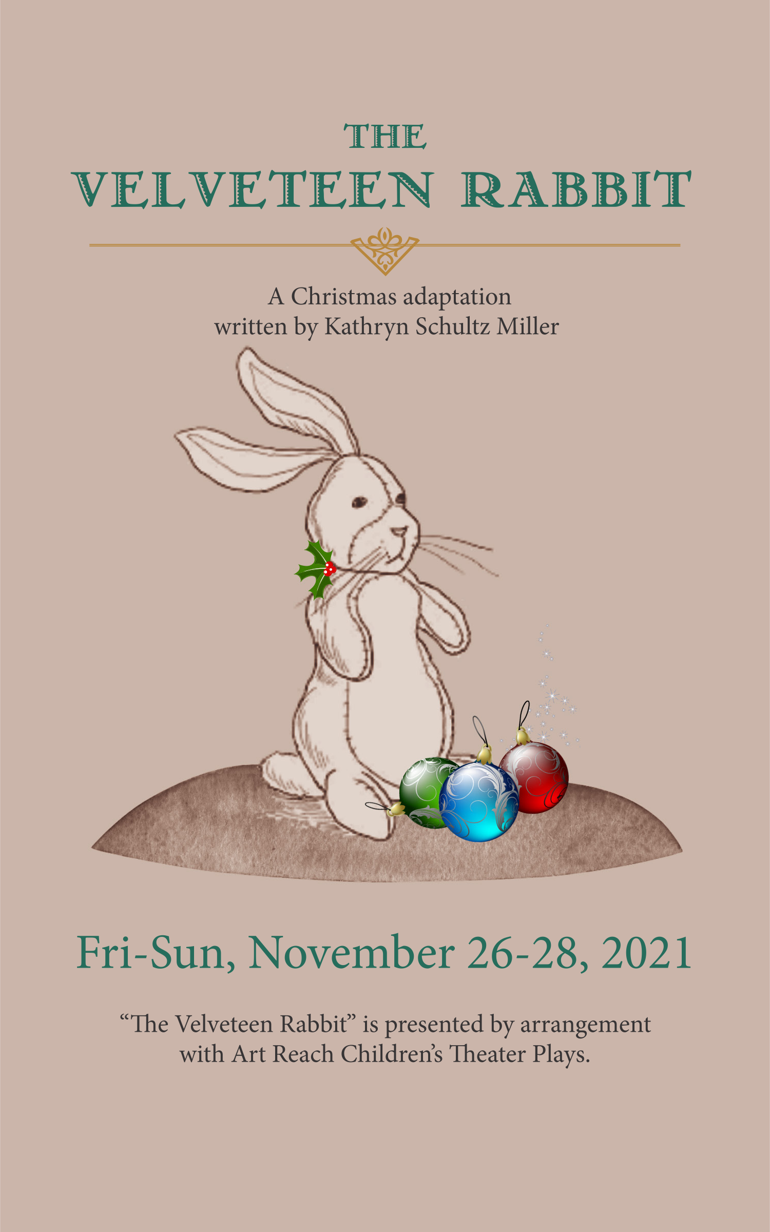 The Velveteen Rabbit: A Christmas Musical, November 26-28 at State Street Theater Co., 1 N. State Street, New Ulm